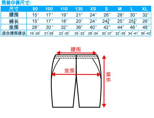 尺码-中裤-男装-20100423